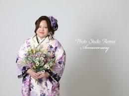 ❁成人式前撮り 裾黒 蝶と紫の牡丹柄❁