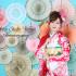 成人前撮り ~ネオクラシック  赤系  白染め分け花の饗宴ピンクの花びら ~