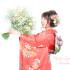 成人式前撮り ~生花リーズナブルプラン かすみ草とくすみピンク~