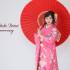 成人前撮り ~ネオクラシック  ピンク系  裾赤リボン、桜、牡丹柄~