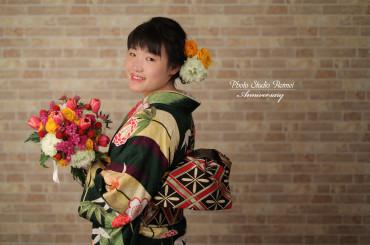 ❁成人式前撮り 大きな矢羽 笹と菊柄 生花プラン❁
