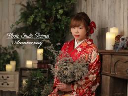 成人前撮り -白染め分け桜、菊、牡丹のし目柄-