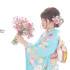 成人前撮り ~水色疋田に桜と飾り紐 古典柄~