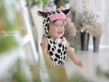 🐥ベビー撮影 牛さんとアンティークドレス🐥