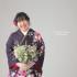 ❁成人式前撮り 赤紫ラメ入り蝶と大小の花柄❁