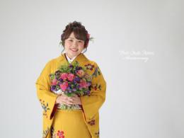 ❁成人式前撮り 山吹色紅型染 生花プラン❁