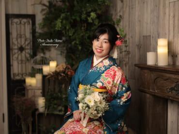 ❁成人式振袖撮影 ボタン菊桜 のしめ柄❁
